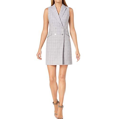 Calvin Klein Check Print Sleeveless Coat Dress CD8EV5PL Tin/Cream 6
