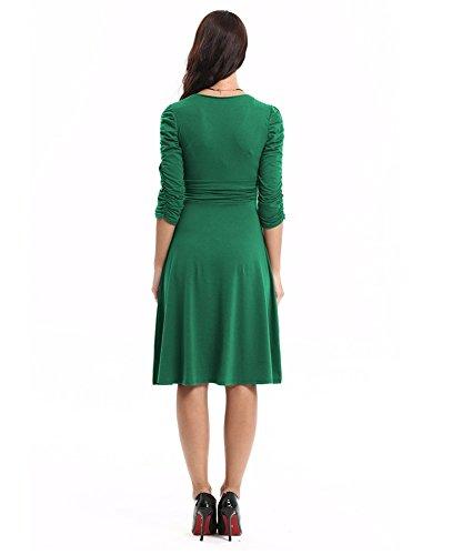 3 Casual Donne Pullover Verde Promenade Del Sera Di Abiti Partito 4 Scollo A V Da Abbigliamento Maniche Dell'esercito Drasawee EY1g4dxwqY