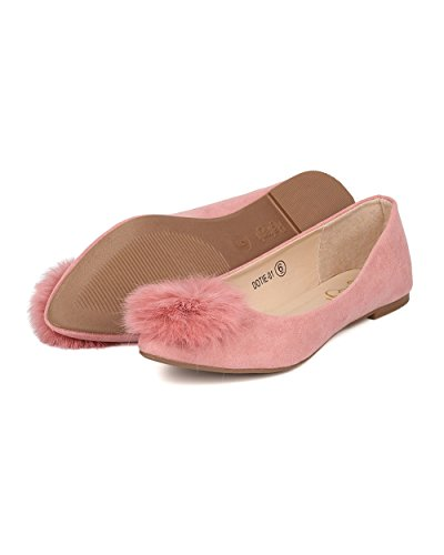 Alrisco Dames Ronde Neus Ballet Flat - Pom Pom Flat - Fuzzy Ballerina Plat - Gi42 Door Stoffige Rose Faux Suede