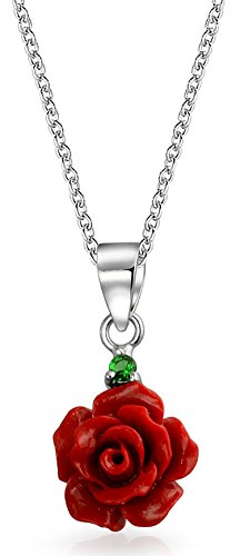 (Tile Carved Red Rose Flower Pendant Necklace For Women For Teen 925 Sterling Silver)