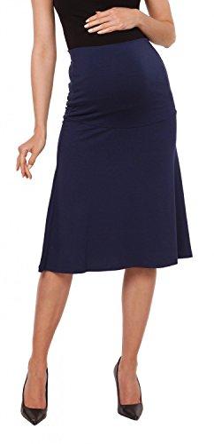 Zeta Ville - Womens Maternity knee length skater skirt stretch waistband - 983c (Navy, US 12/14, 2XL) by Zeta Ville Fashion