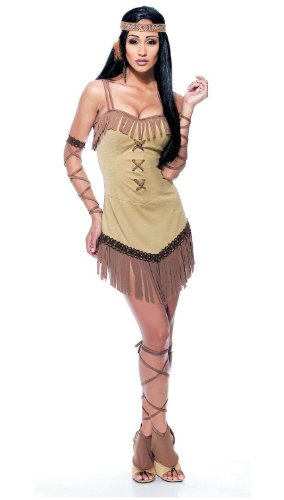 [Paper Magic Womens French Kiss Native Maiden Costume, Tan/Brown, Large] (French Kiss Costume)