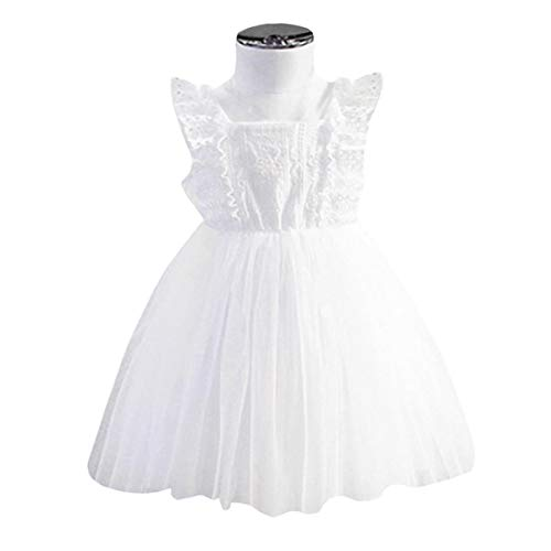 (YOHA Baby Girls Ruffle Jumper Dress Suspender Skirts Pinafore Toddler Dress White,110)