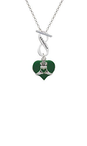 Silvertone Large 2-D Claddagh on Green Heart Grandma Infinity Toggle Chain Necklace