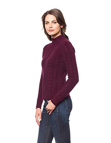 Bordeaux Tricot Cachemire Prime 100 De Femmes World Cardigan Invisible Câble XqntZzH1