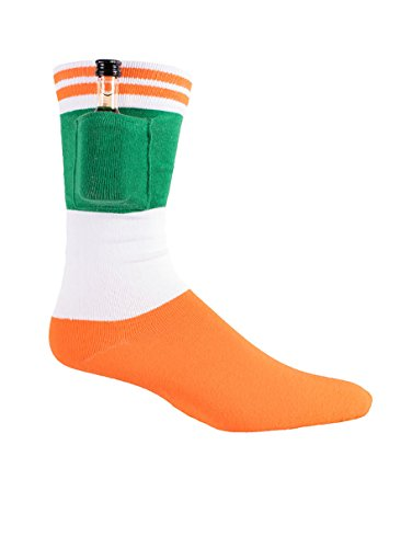 Men's Irish Flag St. Patrick's Day Socks with Built in Pocket Shot Holder,Flag,One Size from Tipsy Elves