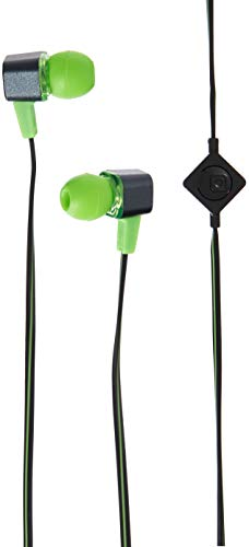 Coby CVE-117-GRN Tangle Free Flat Cable Stereo Earbuds With Mic, Green