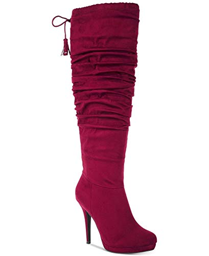 Toe Burgundy Thalia High Almond Brisa Sodi Womens Knee Fashion Boots Fabric qXxRXS7wv