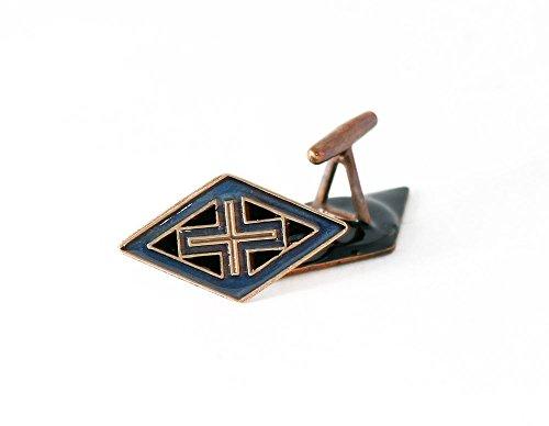 Shaped Diamond Cufflinks (Brass diamond shaped byzantine style cufflinks with blue and black inlay,)