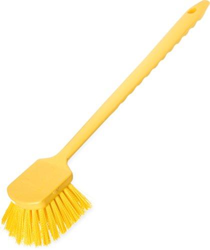 Carlisle 40501C04 Commercial Utility Scrub Brush, Polyester Bristles, 20'' x 3'', Yellow (Pack of 6) by Carlisle