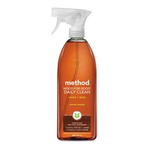 Method Naturally Derived Wood for Good Daily Cleaner Spray, Almond, 28 FL Oz Mega Value, Pack of 8 (28 x 8, Total 224 Oz)