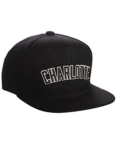 sor USA Cities Snapback Hat 3D Raised Silicon Letters Cap - Charlotte Black - White Black Letters ()