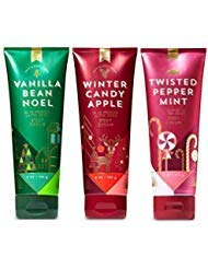 Bath and Body Works 3 Pack Christmas Trio Ultra Shea Body Cream 8 Oz. Vanilla Bean Noel, Winter Candy Apple and Twisted Peppermint.