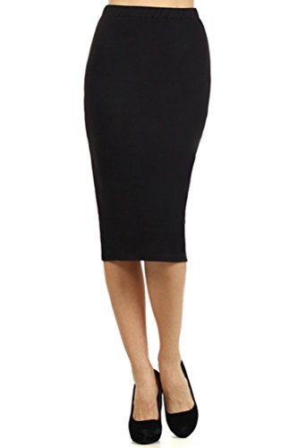 Pastel by Vivienne Women's Solid Jersey Knit Pencil Skirt XX-Large Black