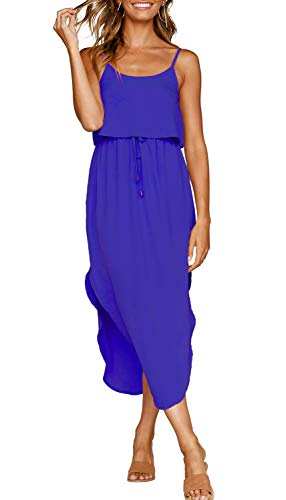 Adjustable Dress - ZJCT Womens Dresses Adjustable Strappy Sleeveless Side Split Casual Summer Beach Midi Dress Sapphire Blue L
