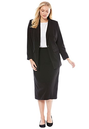 Jessica London Women's Plus Size 2-Piece Single-Breasted Skirt Suit Black,14 by Jessica London