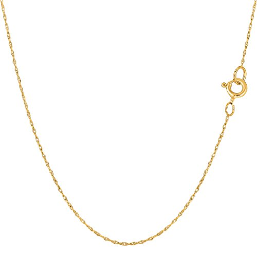 14k Yellow Gold Rope Chain Necklace, 0.4mm, 20