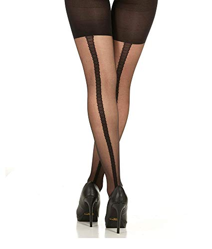 Pantyhose Sheer Stretch - Assets by Sara Blakely Red Hot Label Textured Scallop Backseam Sheers Shaping Pantyhose Tights - (Black / 2)