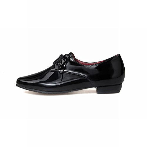 Pointed leather Synthetic Patent Black Fashion Shoes Up toe Latasa Oxford Chunky Lace Women's UROqXnwF