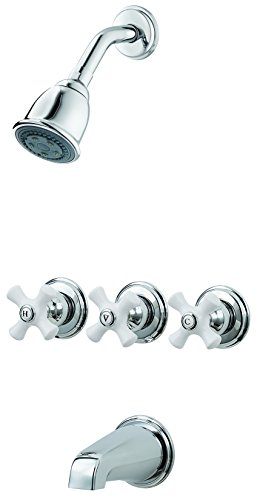 (Pfister LG01-8CPC 3-Handle Tub & Shower Faucet With Porcelain Cross Handles Polished Chrome)