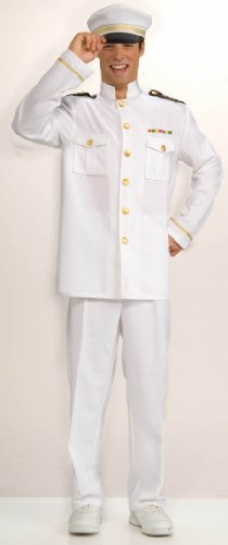 [Forum Novelties Men's Cruise Captain Costume, White/Blue, Standard] (Ship Captain Costumes)