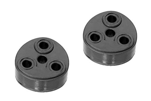 CarXX 3 Hole Exhaust Hanger Bushing Muffler Insulator Shock Absorbent Mount Bracket High Density Rubber 10mm Hole (51mm x 51mm x 25mm) Universal Fit - Pack of 2