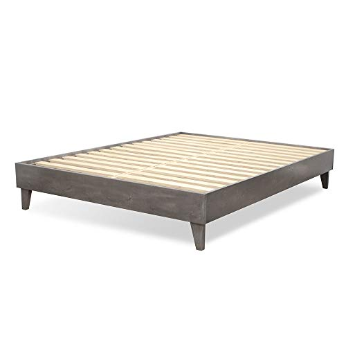 eLuxurySupply Wood Bed Frame - Made in The USA w/100% North American Pine - Solid Mattress Platform Foundation w/Pressed Pine Slats - Tool-Free Assembly - Queen