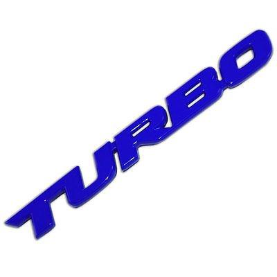 Blue Metal Turbo Text Engine Race Motor Swap Emblem Badge For Trunk Hood Door for Toyota