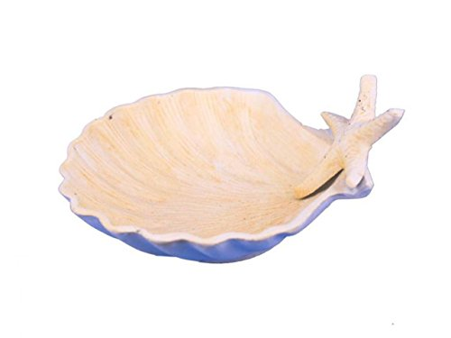 Hampton Nautical  Cast Iron Shell with Starfish Decorative Bowl, 6