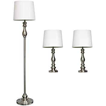 Contemporary floor and table lamp set household lamp sets elegant designs lc1015 bst three pack lamp set 2 table lamps 1 floor mozeypictures Images