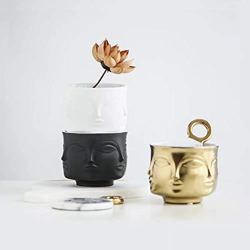 Noir en c/éramique Petit Visage Pot T/ête Visage Vase D/écoration Succulente Cactus Pot de Plantes dint/érieur