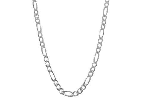 MCS Fashion Jewelry Collection Sterling Silver Figaro Chain Necklace - Italian Made - 2.0mm - 30 inch (Italian Chain Figaro Style)