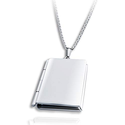 (PHOCKSIN Locket Necklace That Holds Pictures Living Memory Book Shape)