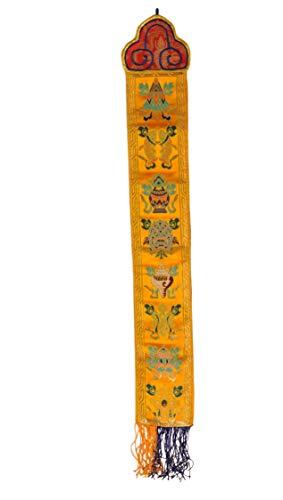 Handmade Small Tibetan Silk Brocade Wall Hanging Banner with 8 Auspicious Symbols