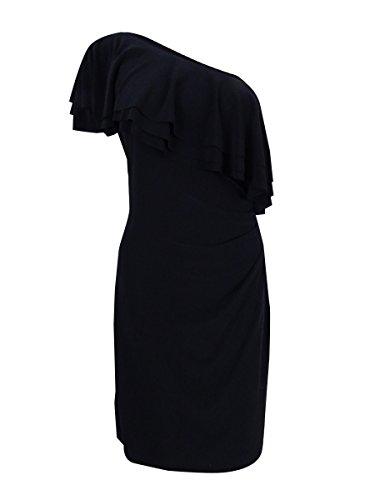 LAUREN RALPH LAUREN Womens Claude Ruffled One Shoulder Party Dress Black 12