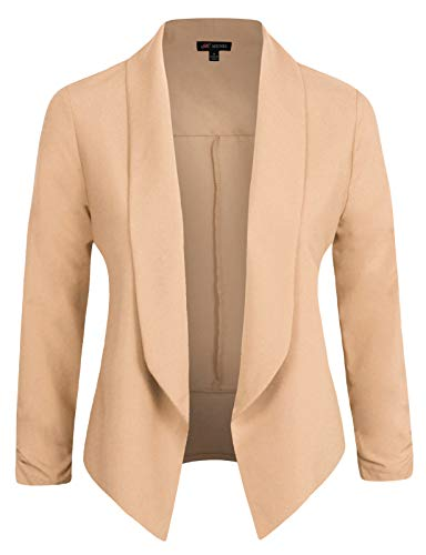 Michel Womens Casual Blazer Work Office Lightweight Stretchy Open Front Lapel Jacket Mauve XX-Large