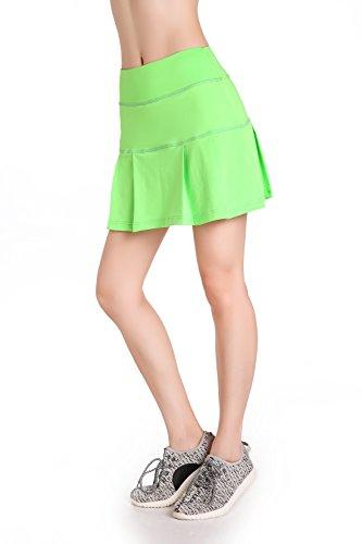Annjoli Womens Running Skorts Golf Tennis Workout Skirt (S, Lawn Green)