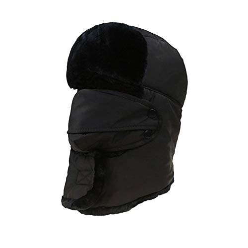 Trapper Hat,iWEingHo&21 Unisex Windproof Lei Feng Bomber Hat Trapper Warm Outdoor Cap with Earflaps Mask - Black ()
