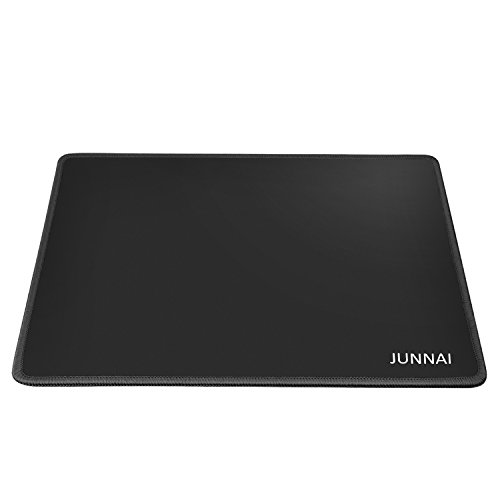 JUNNAI Professional Portable Mouse Pad / Mat for Office and Gaming - Smooth Silk Surface and Anti-Slip RubberBase - Black StitchedEdges,Black ClothMouse PadStandard Size 13 × 9.5 × 0.12