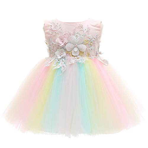 Coozy Baby Girls Dress Infant Princess Christening Baptism Party Birthday Formal Dress (Rainbow (Style 6), 3M/0-6months)