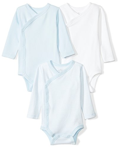 Moon and Back Baby Set of 3 Organic Long-Sleeve Side-Snap Bodysuits, Blue Sky, Newborn