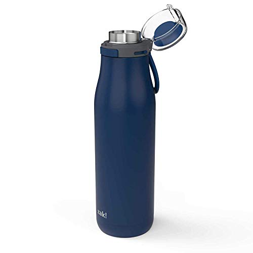 Zak Designs Kiona Double Wall Vacuum Insulated Stainless Steel Water Bottle with Push Button Action and Locking Lid, Includes Portable Carry Loop and Leak-Proof Design (29oz, Indigo, 18/8, BPA Free) (Double Portable Vacuum)