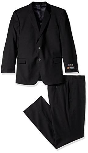 Lazetti Couture Men's Portly Wool Suit, Black, 52 -