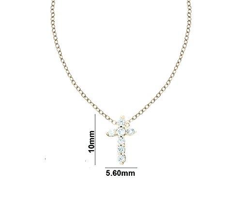 Libertini pendentif argent 925 femme serti de Diamant en forme de Croix
