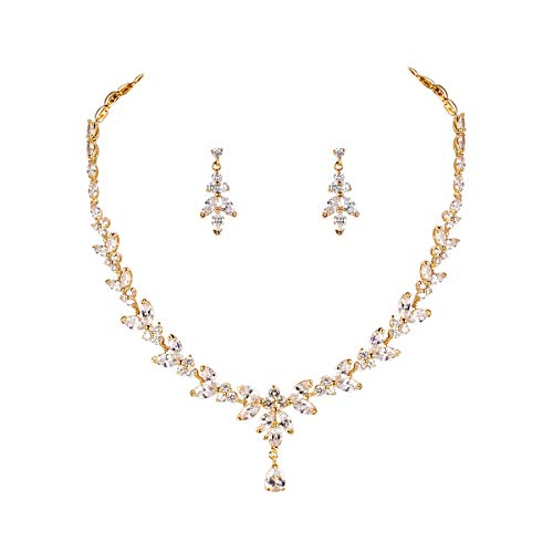 (WeimanJewelry Silver/Gold Plated Women Cubic Zirconia Round CZ Marquise Teardrop Bridal Necklace and Drop Earring Set for Bride Wedding (Gold))