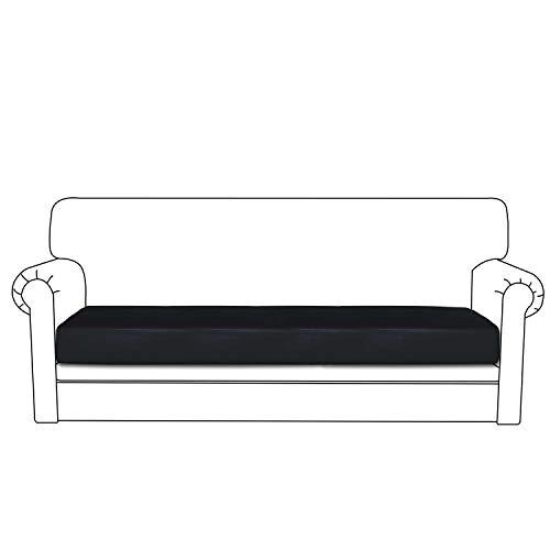 Easy-Going PU Leather Sofa Cushion Cover Sofa Seat Slipcover Sofa Cover Waterproof with Elastic Bottom Pets,Kids,Children,Dog(Oversized Sofa Cushion,Black)