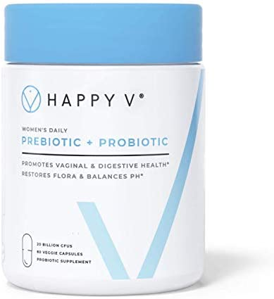 Happy V Vaginal Probiotics for Women – Prebiotics & Vaginal Health Probiotics for BV & Yeast Infection Treatment for Women, OBGYN Approved, Clinically Proven pH Balance for Women, Vegan, Women-Owned