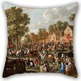 Alphadecor Oil Painting Gillis Van TILBORGH The Younger - Village Kermis Pillow Cases ,best For Family,monther,dance Room,divan,her,christmas 16 X 16 Inches / 40 By 40 Cm(double Sides)