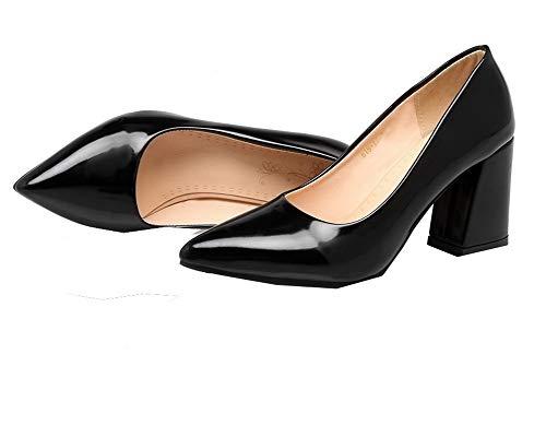 Nero tacco Chiuso punta Busdt004392 Delle Amoonyfashion Verniciata Donne Alto on Pelle Pull Pompe scarpe OYxT8Zqw