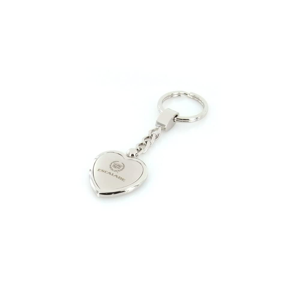 Cadillac Escalade Satin/Chrome Two Tone Heart Shape Keychain